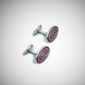 Funky Target Sterling Silver Cufflink with enamelled Purple & Pink