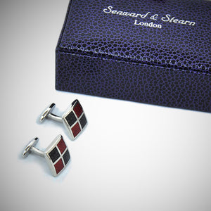 Square Windows Sterling Silver Cufflink with enamelled Claret & Charcoal
