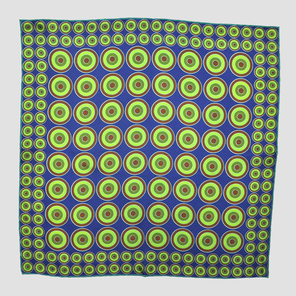 English Silk Dynamic Target Pocket Square in Lime & Blue