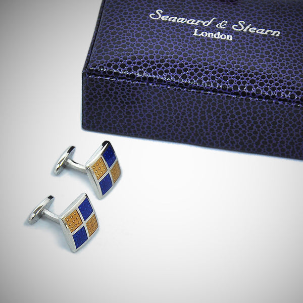 Square Windows Sterling Silver Cufflink with enamelled Mellow Yellow & Royal Blue