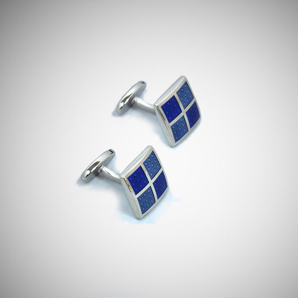 Square Windows Sterling Silver Cufflink with enamelled Blue Tones