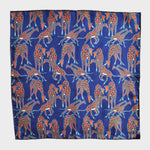 Dapper Giraffe Silk Pocket Square in Blue
