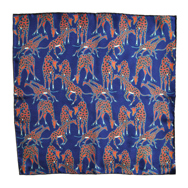 English Silk Giraffe Pocket Square