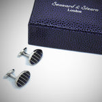 Striped Windows Sterling Silver Cufflink with enamelled Blue & Charcoal