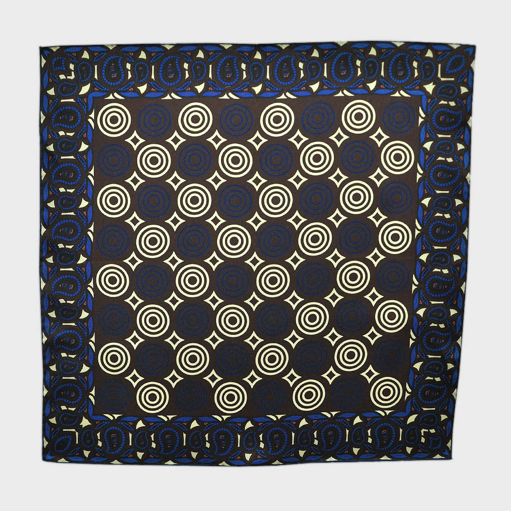 English Silk Funky Target Pocket Square in Brown & Blue