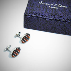 Striped Windows Sterling Silver Cufflink with enamelled Orange & Charcoal