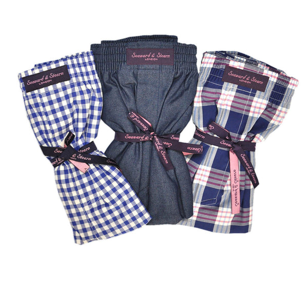 Plaid, Gingham and Plain Cotton Boxer Short Bundle