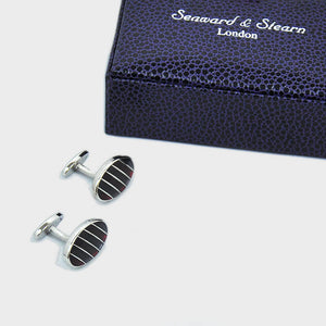 Striped Windows Sterling Silver Cufflink with enamelled Claret & Charcoal
