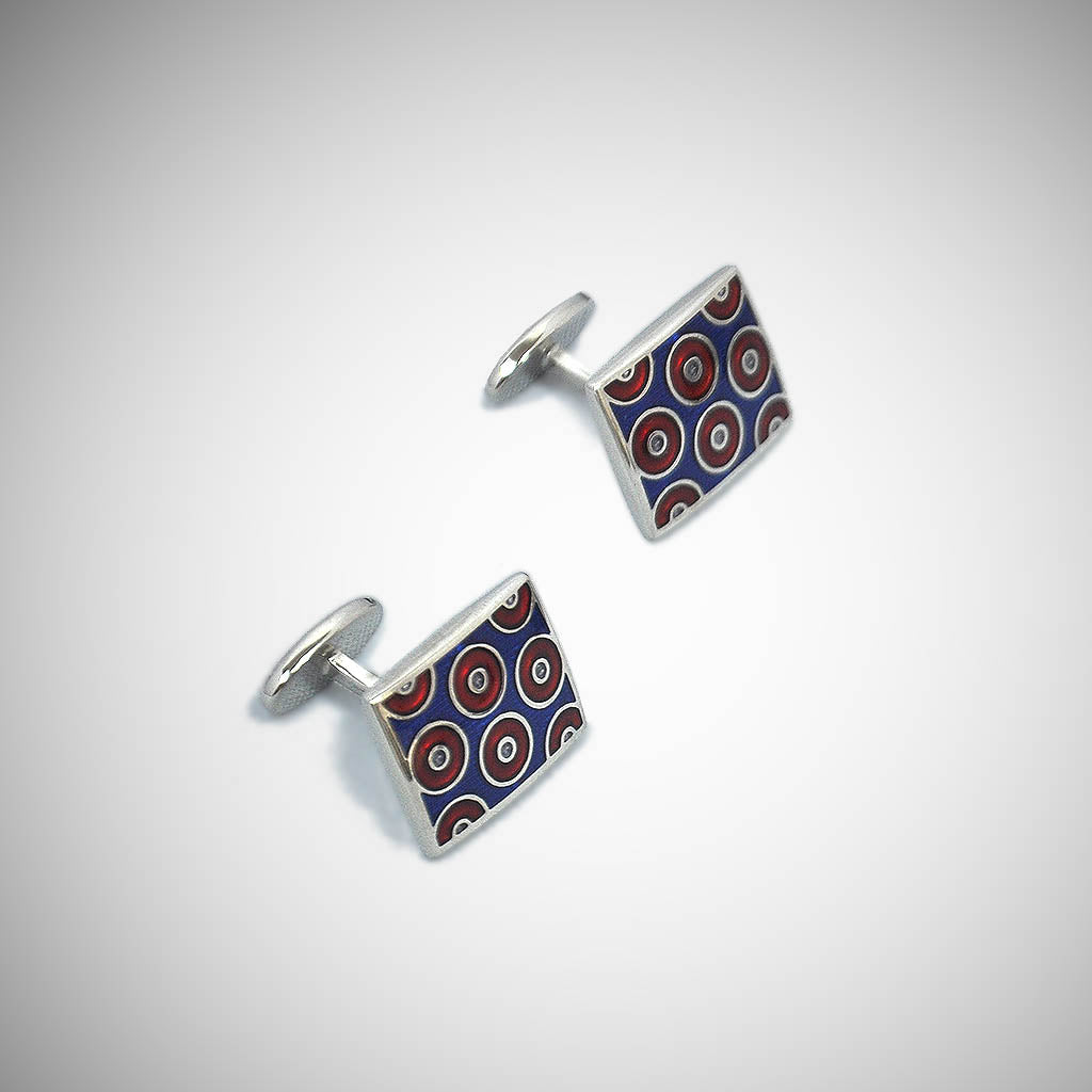 Groovy Hoops Sterling Silver Cufflink with enamelled Royal Blue & Claret