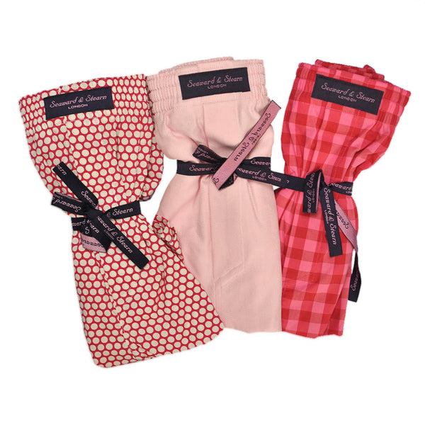 Plaid, Dotty and Plain Cotton Boxer Short Bundle in Reds