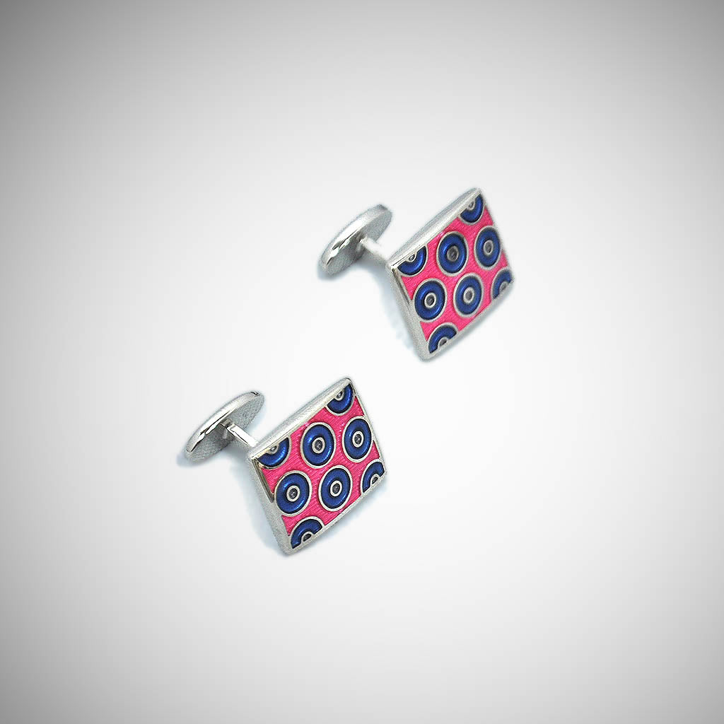Groovy Hoops Sterling Silver Cufflink with enamelled Pink & Blue