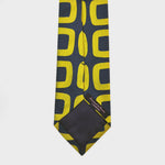 Big & Bold Hoops Woven Silk Tie in Blue & Gold