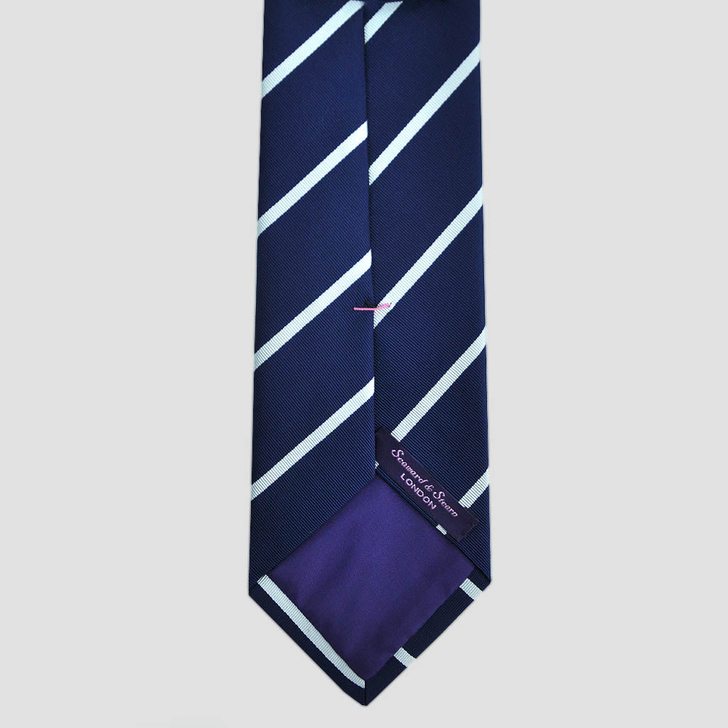 English Silk Cool Stripes Tie in Navy & White