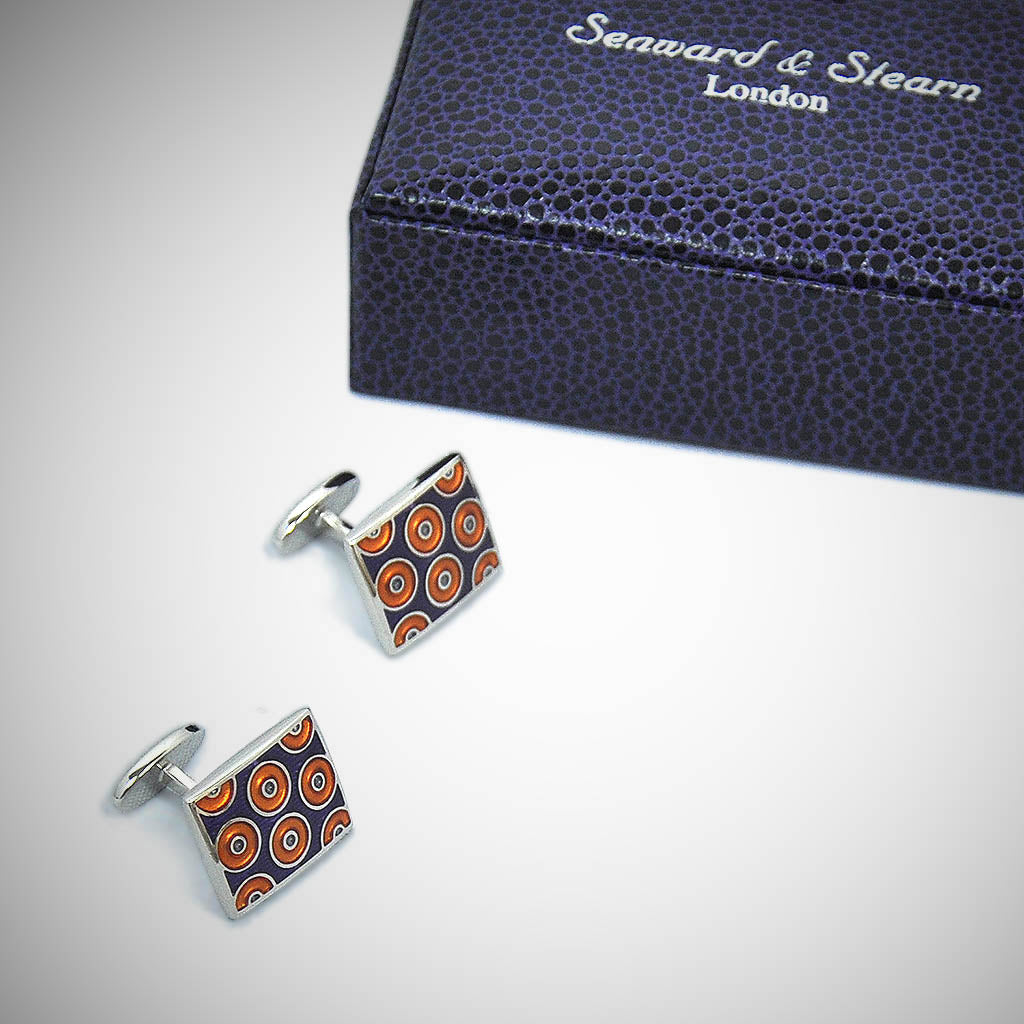 Groovy Hoops Sterling Silver Cufflink with enamelled Navy & Orange