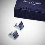 Classy Quadrant Sterling Silver Cufflink with enamelled Blue, Olive & Pink