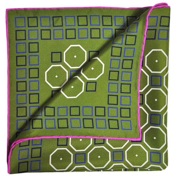 English Silk Funky Octagon Pocket Square