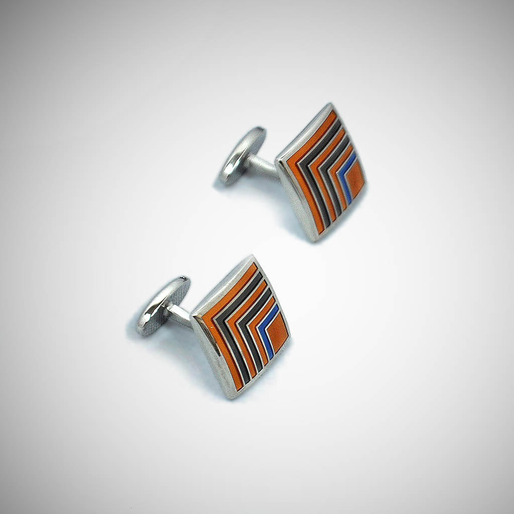 Classy Quadrant Sterling Silver Cufflink with enamelled Sunset Orange, Olive & Blue