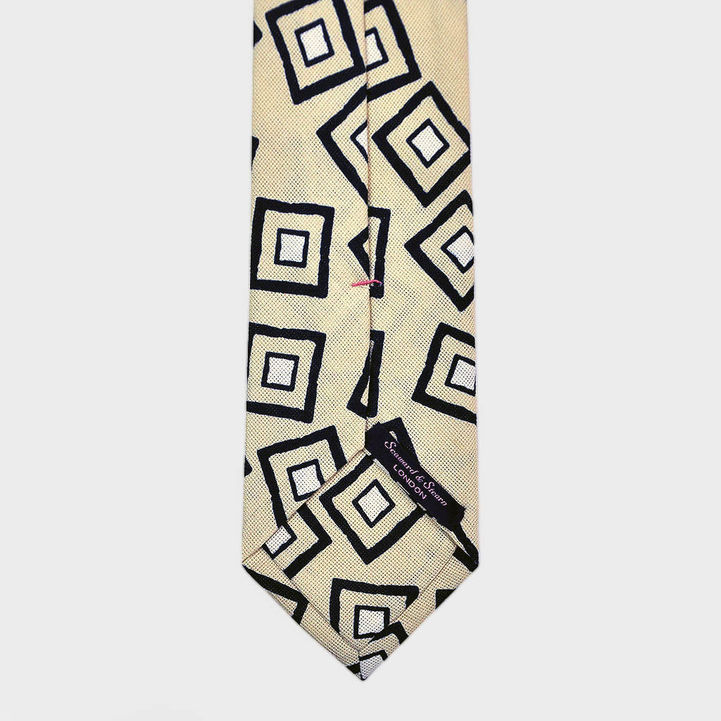 Funky Square Raw Silk Tie in Ivory & Blue