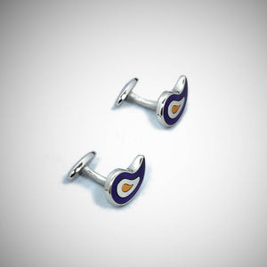 Sterling Silver Teardrop Cufflink with enamelled Blue, White & Warm Yellow