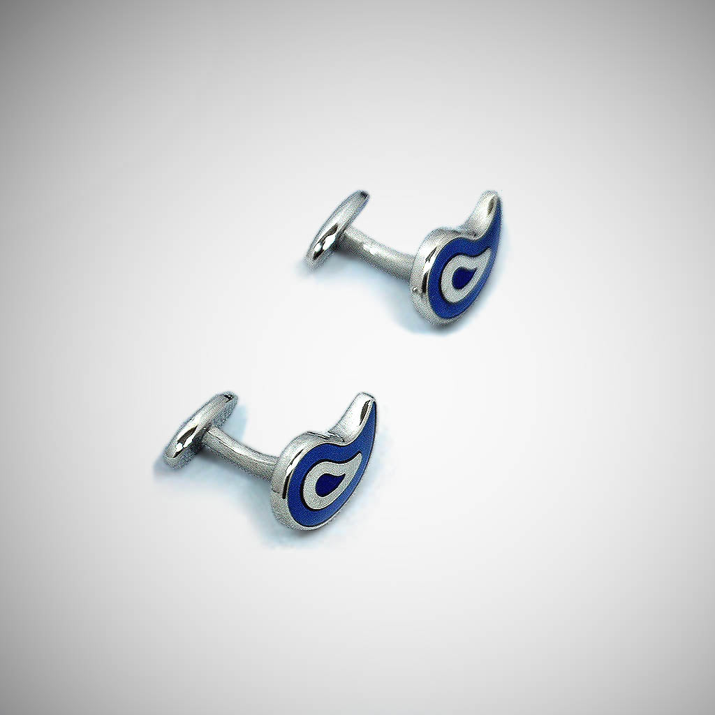 Sterling Silver Teardrop Cufflink with enamelled Royal Blue, White & Navy