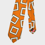 The Big Square Silk Tie in Sunset Orange & White