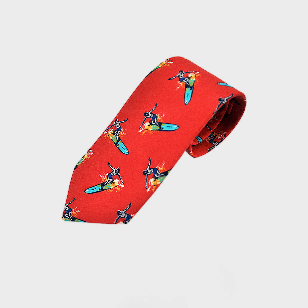 Surf's Up! Silk Tie in Red