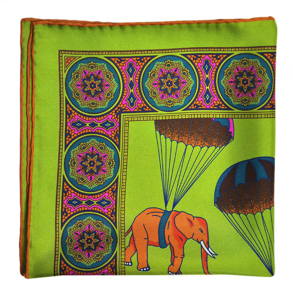 English Silk Parachuting Elephants Pocket Square