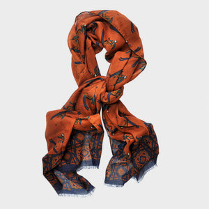Wool Silk Groovy Skier Scarf in Rusty Orange & Blue
