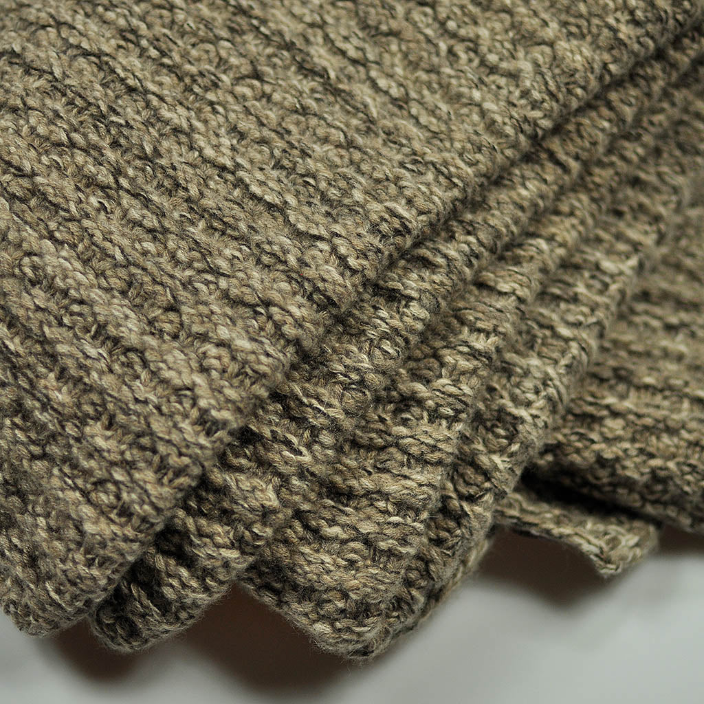 Cashmere Throw in Speckled Olive Brown