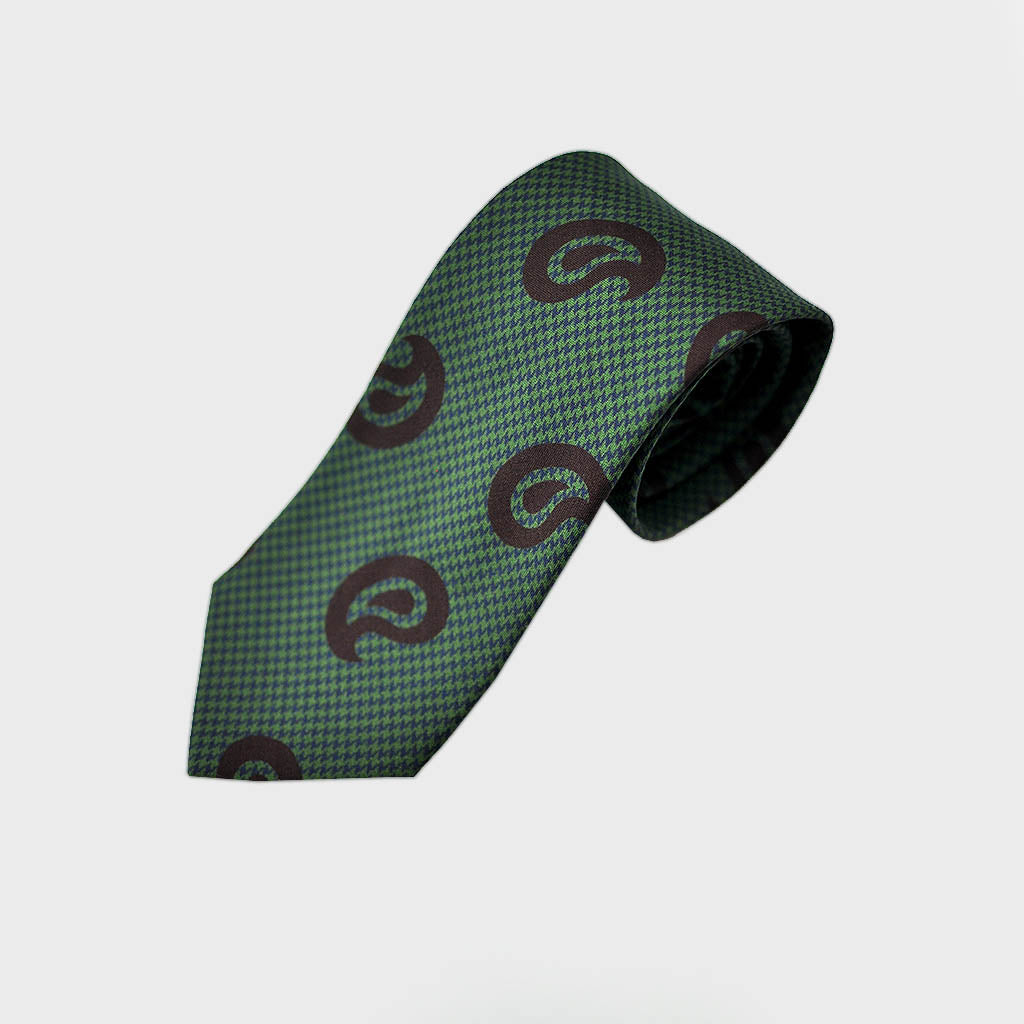Puppy Tooth & Teardrop Bottle Neck Silk Tie in Green