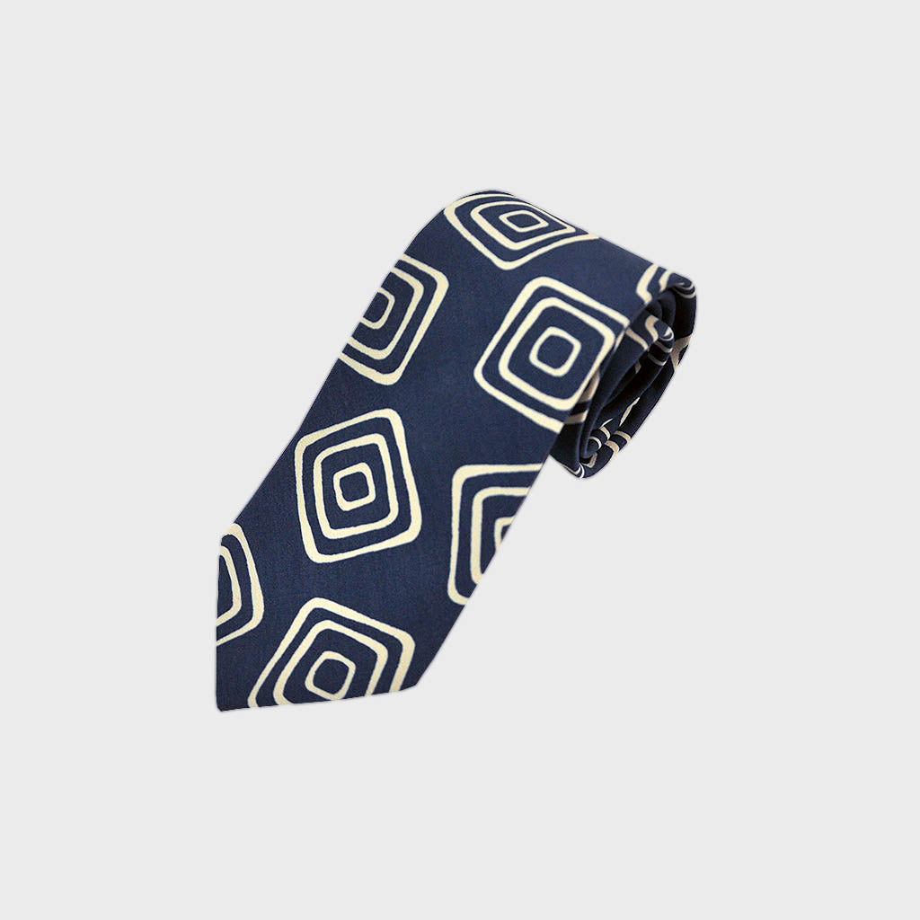 The Groovy Square Silk Tie in Blue & White