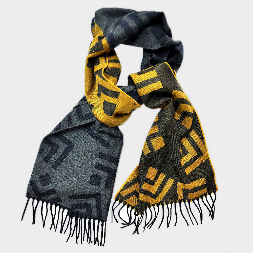 Big Geo's Wool Scarf in Yellow, Blue & Grey