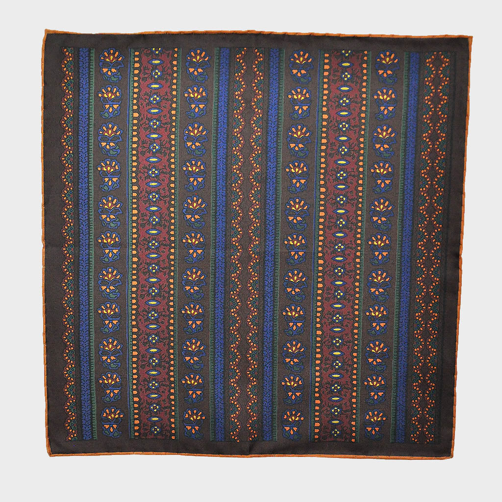 English Madder Floral Columns Pocket Square in Blue & Earthy Colours