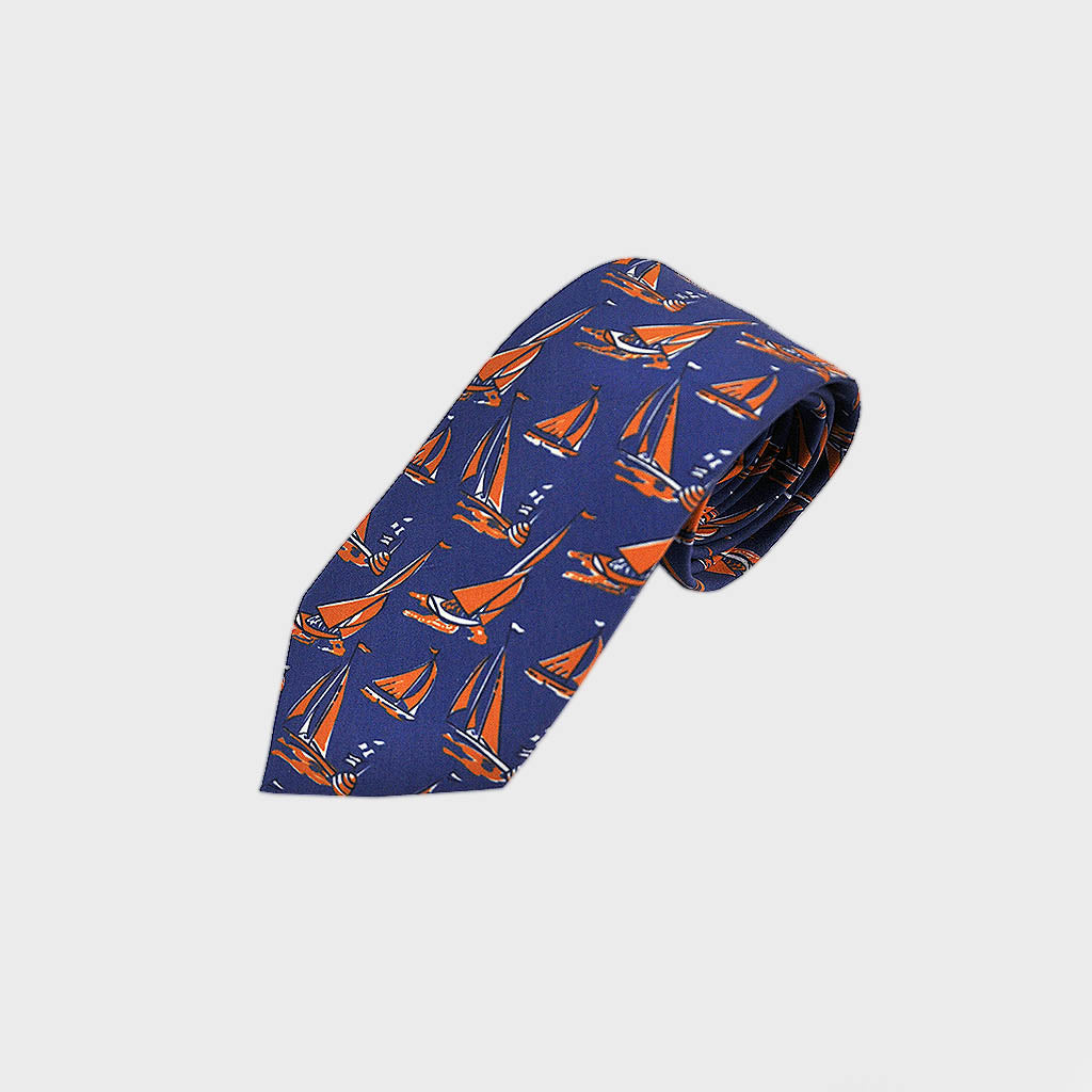 Summer Regatta Silk Tie in Sunset Orange & Blue