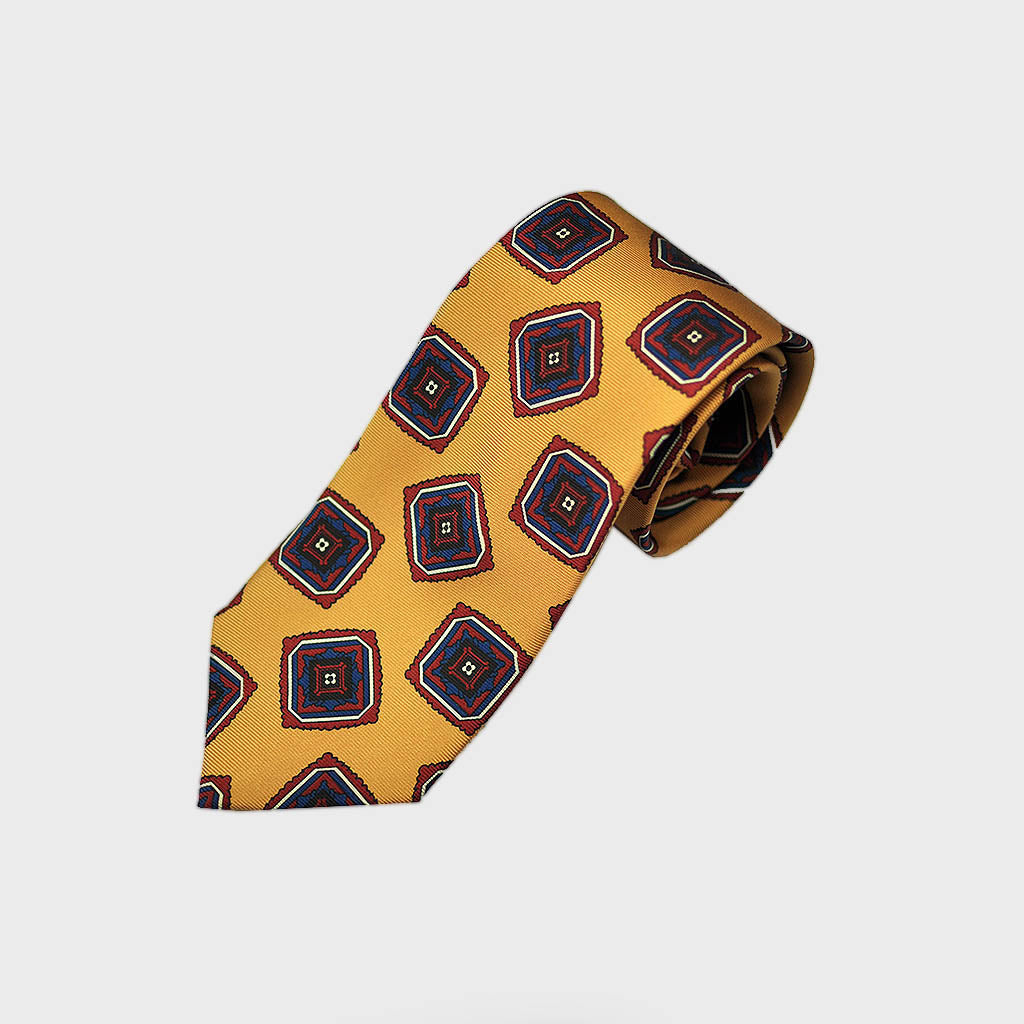 Bold Medallions Bottle Neck Silk Tie in Antique Gold