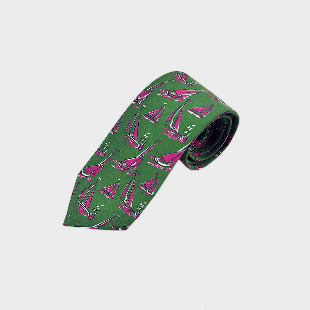 Summer Regatta Silk Tie in Pink & Lime