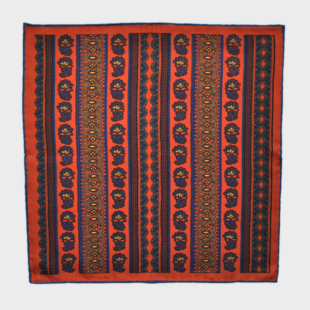 English Madder Floral Columns Pocket Square in Orange & Blue