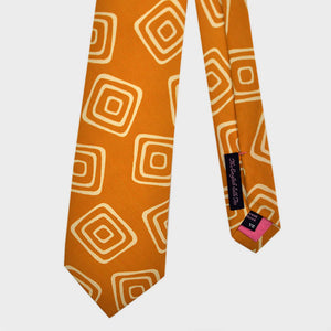 The Groovy Square Silk Tie in Sunset Orange & White