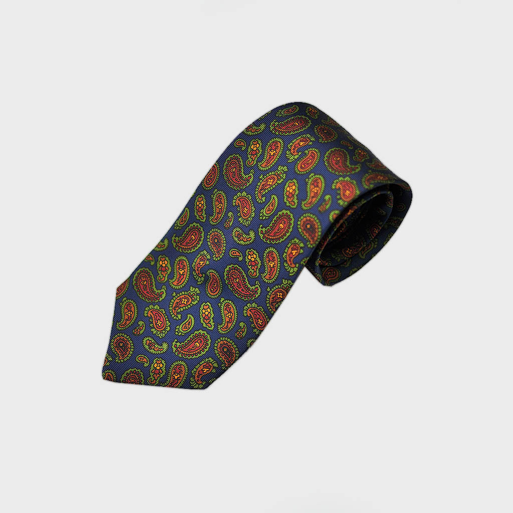 Richly Buteh Bottle Neck Silk Tie in Blue & Brown