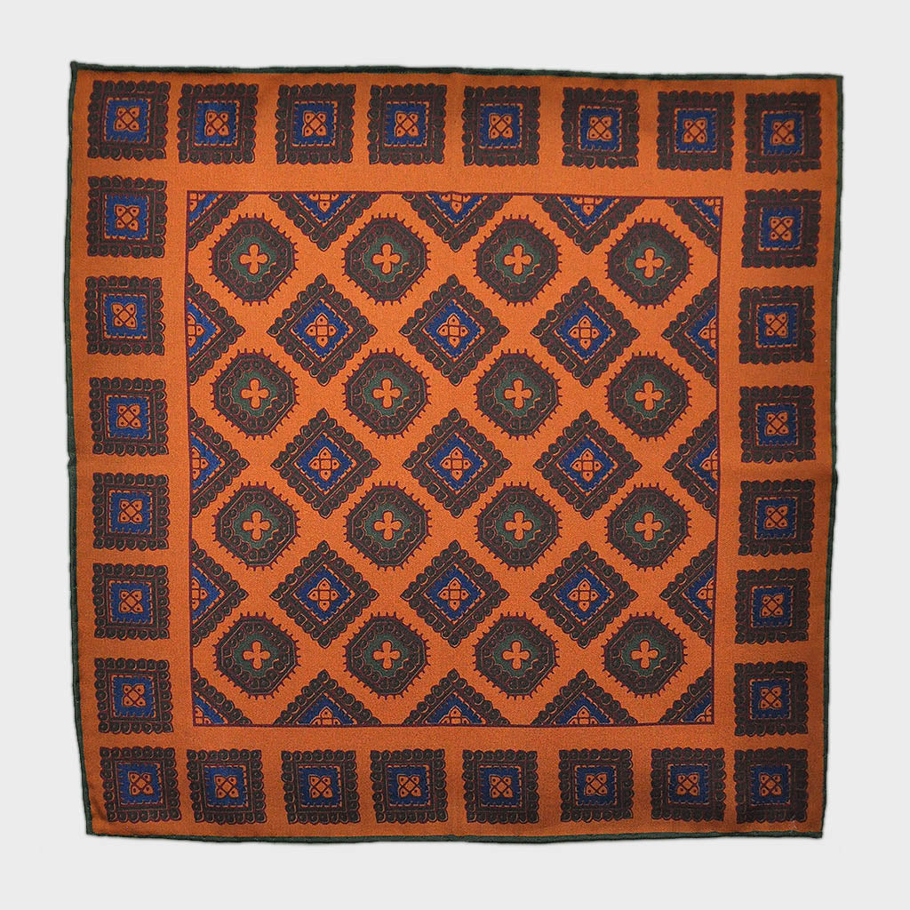English Madder Floret Pocket Square in Orange & Earthy Colours