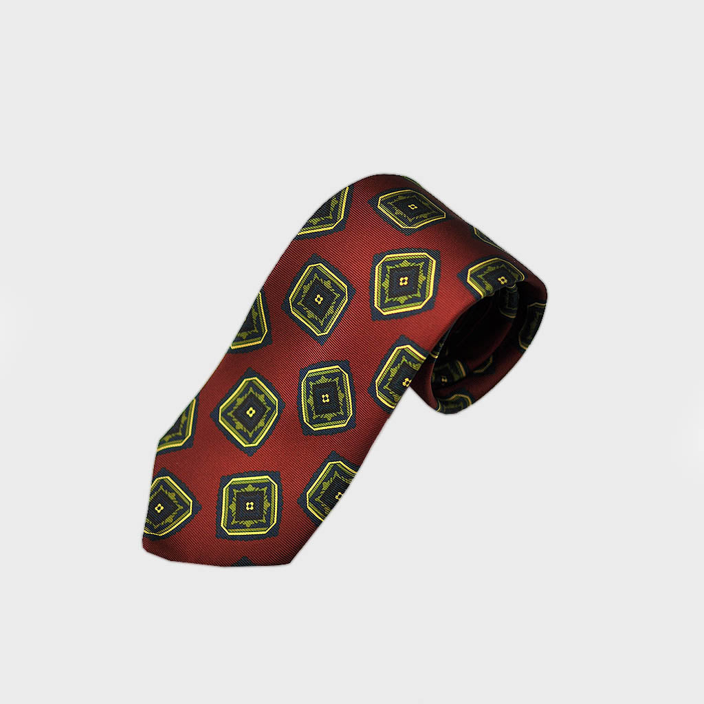 Bold Medallions Bottle Neck Silk Tie in Claret
