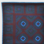 English Madder Floret Pocket Square in Claret & Blue