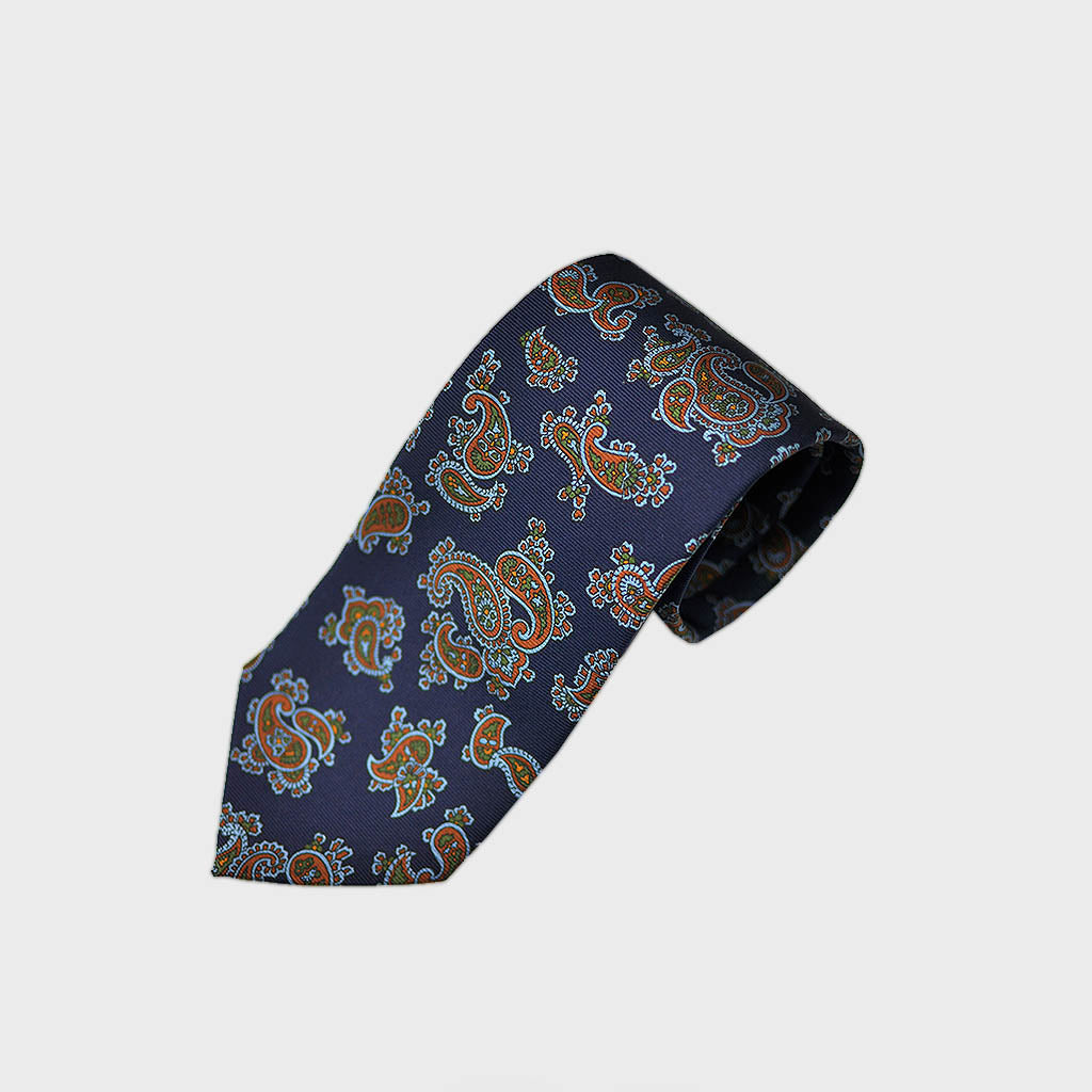 Richly Buteh Bottle Neck Silk Tie in Blue & Orange