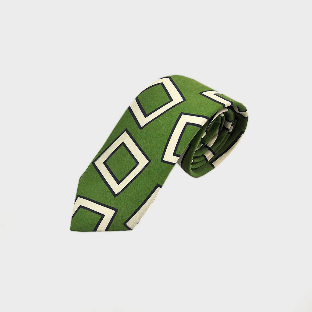 The Big Square Silk Tie in Lime & White