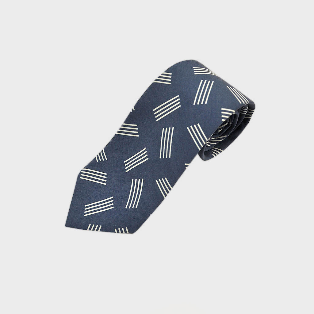 Geometric Pins Silk Tie in Blue