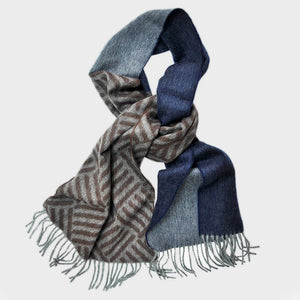 Dashing Geo's Wool Scarf in Browns & Blues