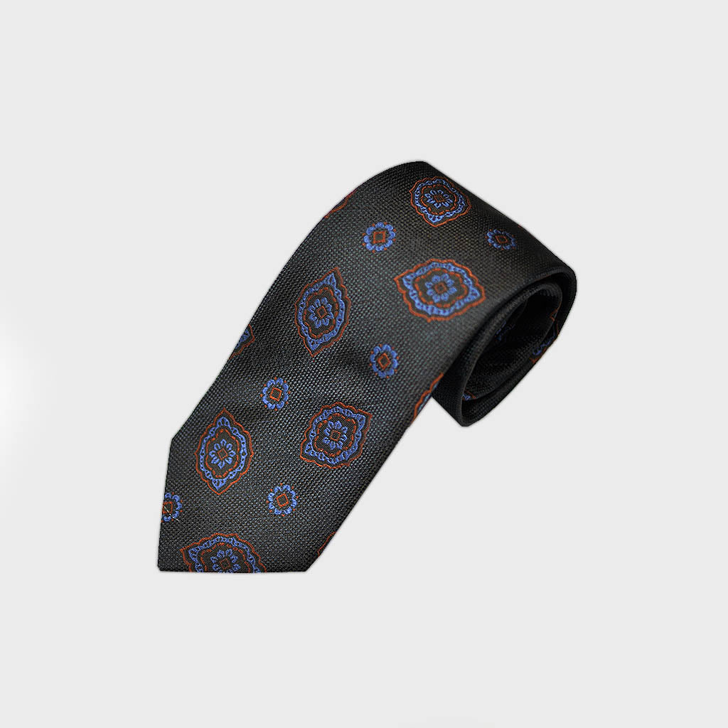 Florets Bottle Neck Tussah Silk Tie in Midnight Blue
