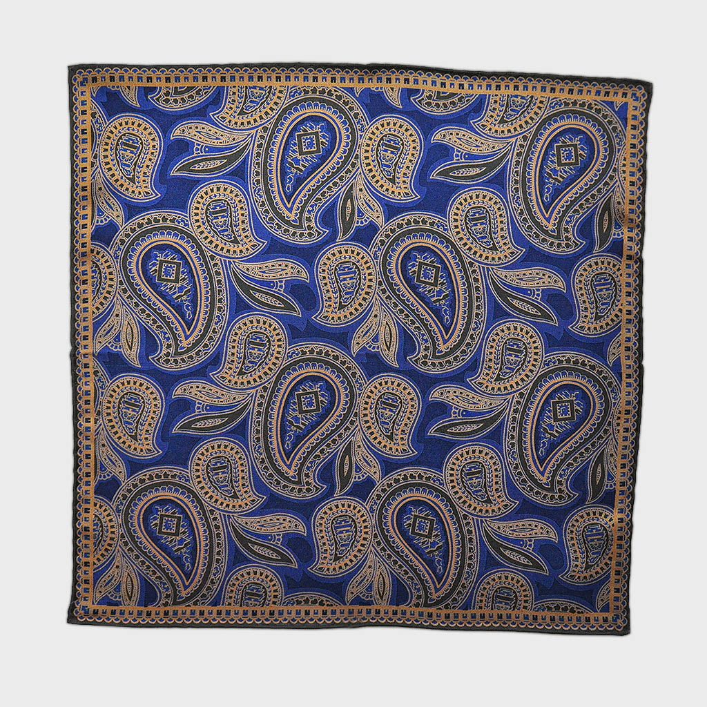 English Madder Paisley Pocket Square in Blue & Browns