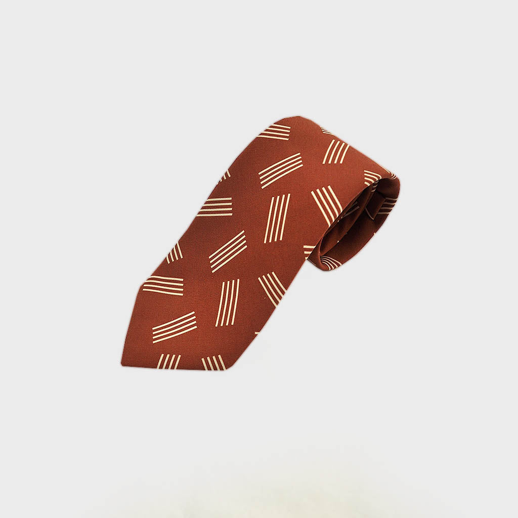 Geometric Pins Silk Tie in Terracotta