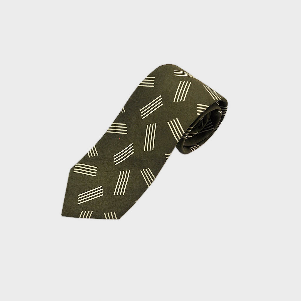 Geometric Pins Silk Tie in Olive
